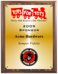 SPECIAL ORDER TOYS FOR TOTS SPONSOR PLAQUES